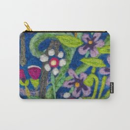 Cozy Felted Wool Flower Garden Carry-All Pouch