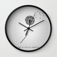 wwe Wall Clocks featuring Feel as free as a dandelion by eARTh