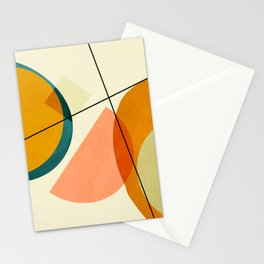 mid century geometric shapes painted abstract III Stationery Cards