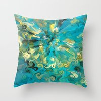 fireworks Throw Pillows featuring Fireworks by Paul Kimble