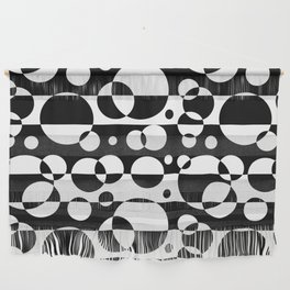 Black White Geometric Circle Abstract Modern Print Wall Hanging