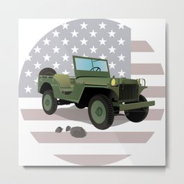 WWII US Army Truck with American Flag Metal Print