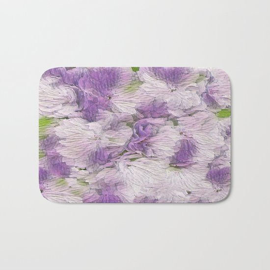 Purple - Lavender Fluffy Floral Abstract Bath Mat