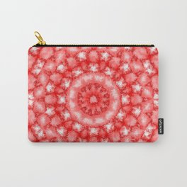Kaleidoscope Fuzzy Red and White Circular Pattern Carry-All Pouch