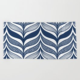 Abstract Whale Fins - Modern Waves Blue Beach Towel