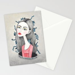 Woman with cats Stationery Cards