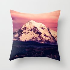 Forest Mountains - Mt Hood Snow Clouds Mountain and Trees Throw Pillow
