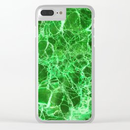 Emerald Green Marble Clear iPhone Case