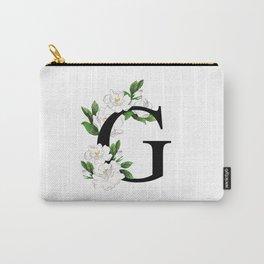 Letter 'G' Gardenia Flower Monogram Carry-All Pouch