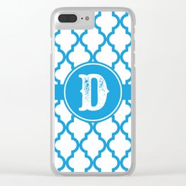 Blue Monogram: Letter D Clear iPhone Case