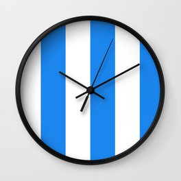 Wide Vertical Stripes - White and Dodger Blue Wall Clock