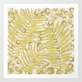 Golden Tropical Leaves Abstract Art Print