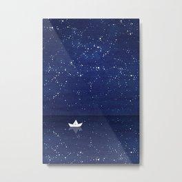 Zen sailing, ocean, stars Metal Print