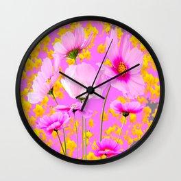 YELLOW COSMO FLOWERS  PURPLE ART  PATTERNS Wall Clock