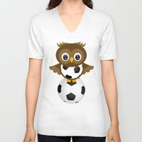 soccer V-neck T-shirts featuring Soccer Owl by Simone Gatterwe
