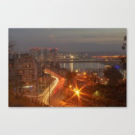 Night view on Sava river, Belgrade, Serbia Canvas Print
