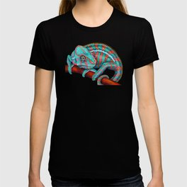 Panther Chameleon Turquoise Blue & Coral Red T-shirt