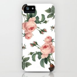 Rose Garden Butterfly Pink on White iPhone Case