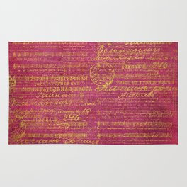 Fuchsia with Gold Script Rug