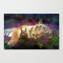 Tiger and Butterfly Canvas Print
