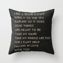 Can't Help Falling in Love With You Elvis Presley Lyrics Music Poster Throw Pillow