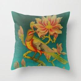 Indian Bird Trade Label Throw Pillow