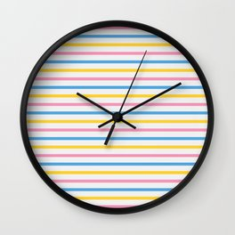 Color Lines of Train Pink/ Blue/ Yellow Wall Clock
