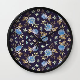 Dark Floral Wall Clock
