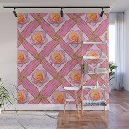 CREAMY  ROSES & RAMBLING THORNY CANES ON  PINK  DIAGONAL PATTERNS Wall Mural