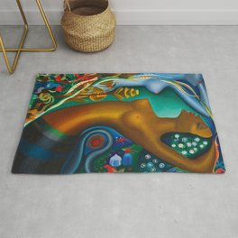Mythological Sirens aquatic floral landscape by Joseph Stella Rug