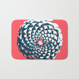 pine cone pattern in coral, aqua and indigo Bath Mat