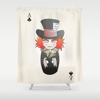 mad hatter Shower Curtains featuring Kokeshi Mad Hatter by Pendientera