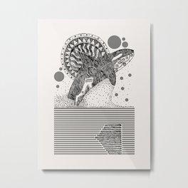 Orca Jump Sketch Metal Print