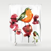 robin Shower Curtains featuring ROBIN by genie espinosa