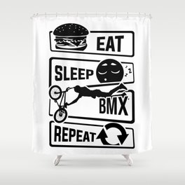 Eat Sleep BMX Repeat - Bike Cycling Stunt Bike Shower Curtain