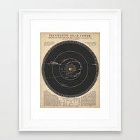 solar system Framed Art Prints featuring Solar System by Le petit Archiviste