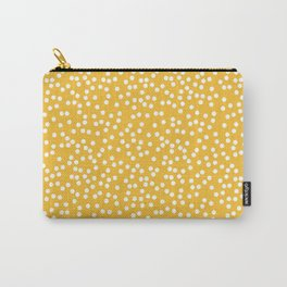 Mustard Yellow and White Polka Dot Pattern Carry-All Pouch
