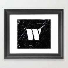 Black Marble - Alphabet W Framed Art Print