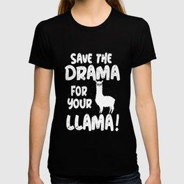 save the drama lama alpaca cute animal fur white T-shirt