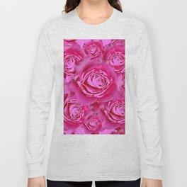 Pink Roses on Pink Roses Purple Fuchsia Flowers Art Design Long Sleeve T-shirt