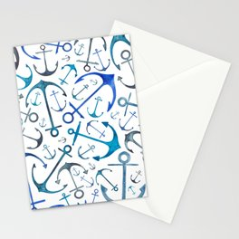 Nautical Watercolour Anchors Stationery Cards