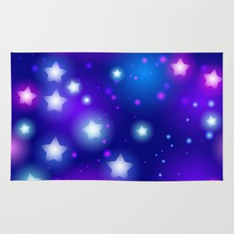 Milky Way Abstract pattern with neon stars on blue background Rug