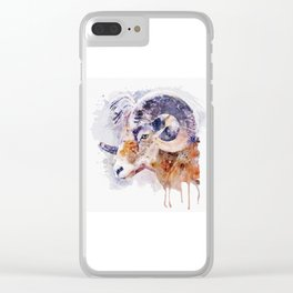 Bighorn Sheep watercolor portrait Clear iPhone Case