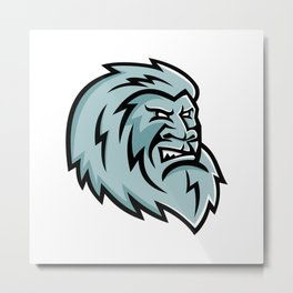 Yeti Head Mascot Metal Print
