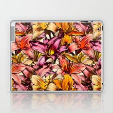 Daylily Drama - a floral illustration pattern Laptop & iPad Skin