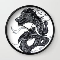 dragon Wall Clocks featuring Dragon by Peter Fulop