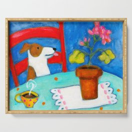 Jack Russel Terrier at table with geraniums Serving Tray