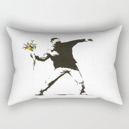 Banksy - Man Throwing Flowers - Antifa vs Police Manifestation Design For Men, Women, Poster Rectangular Pillow