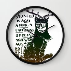 Hipster Cat giving Smart Advice Wall Clock