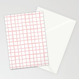 Pantone rose quartz grid pattern print minimal lines cross swiss cross painting hand drawn pastel Stationery Cards